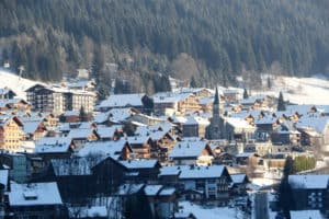 A view of the town centre of Chatel and the church in snow