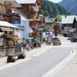 Summer street in Chatel Village Restaurants in France
