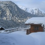 Luxury skiing chalet in Chatel France in the winter garden