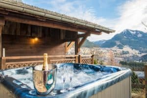 Hot tub with champagne