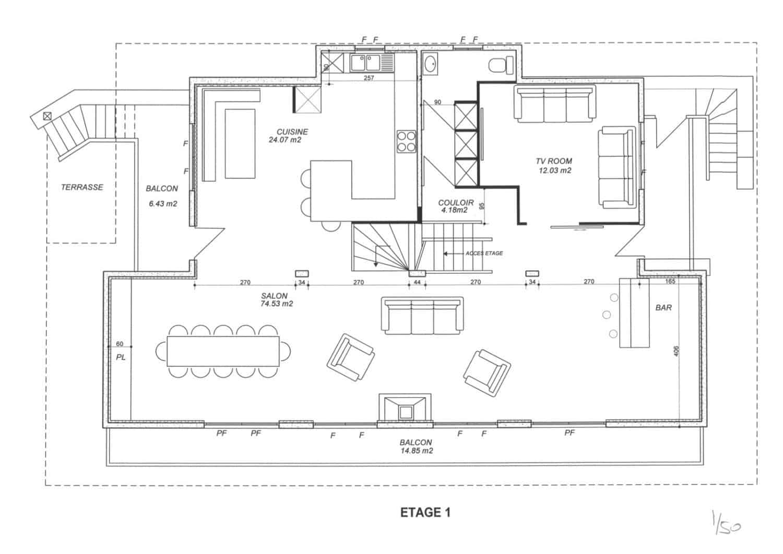 La Grange au Merle floor plans - living