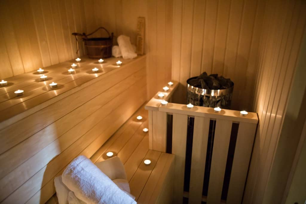 our sauna lit by candle light