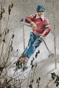 skiing painting on the wall in chatel in france near portes du soliel