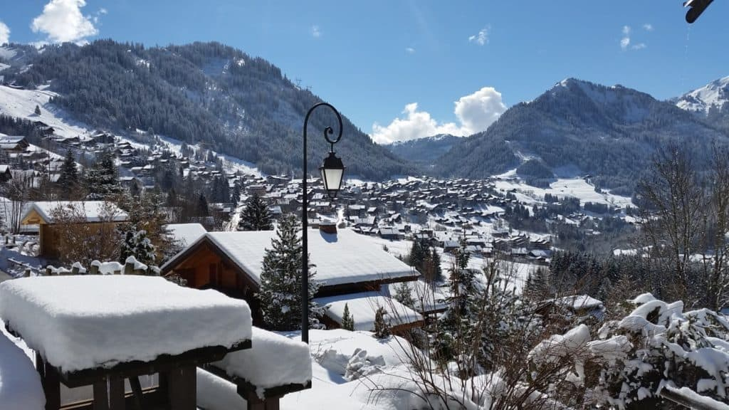 The view over the resort village of Châtel from La Grange au Merle of Clarian Chalets
