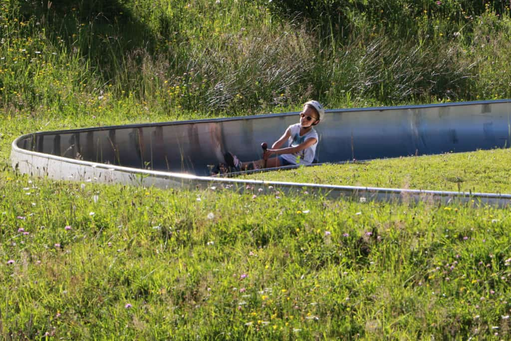 person coming down the bob luge in summer