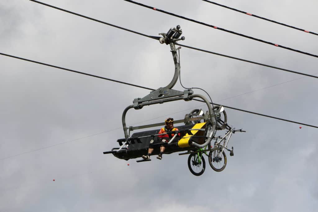 mountain bike on a chairlift