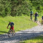 family of mountain bikers