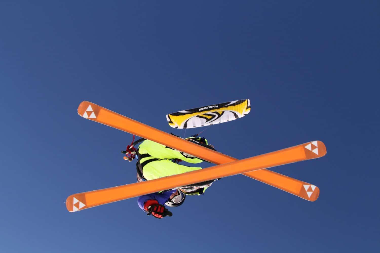 Para-skiier flying through the air