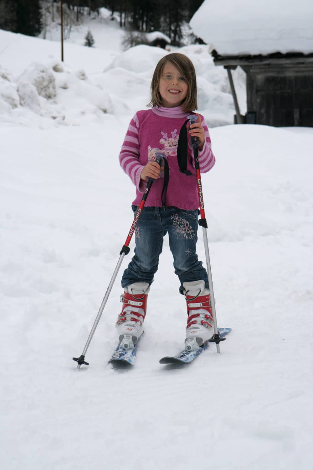 A young child skiing