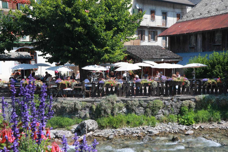 A restaurant terrace in Abondance in summer
