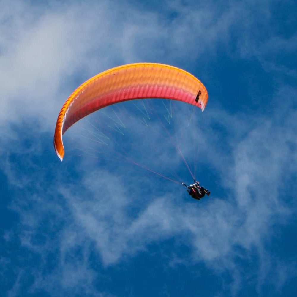 Paragliding over Châtel in the summer