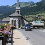 Church in the summer in the village of Chatel