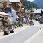 Summer street in Chatel Village Restaurants in France