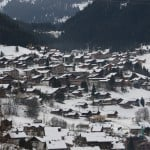 The view from luxury family ski catered La Grange au Merle Chalet in Chatel Village in the snow