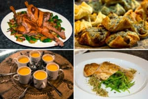 Pictures of roast duck, roast chicken, soup in espresso cups and pastry canapes