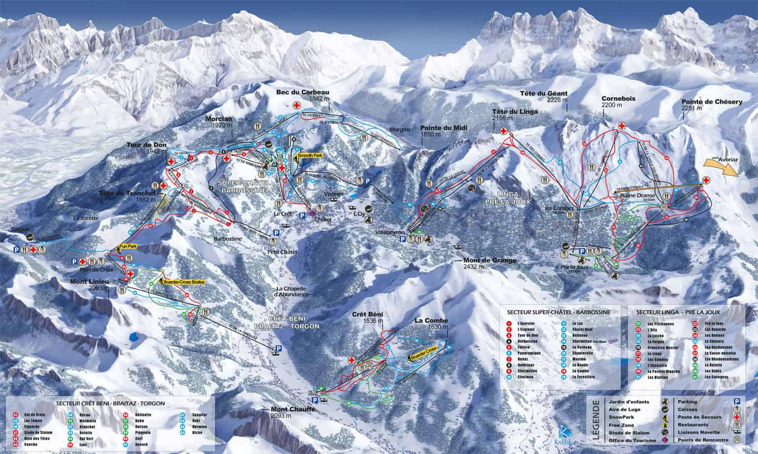 Ski Area and Piste Maps Chatel France Clarian Chalets