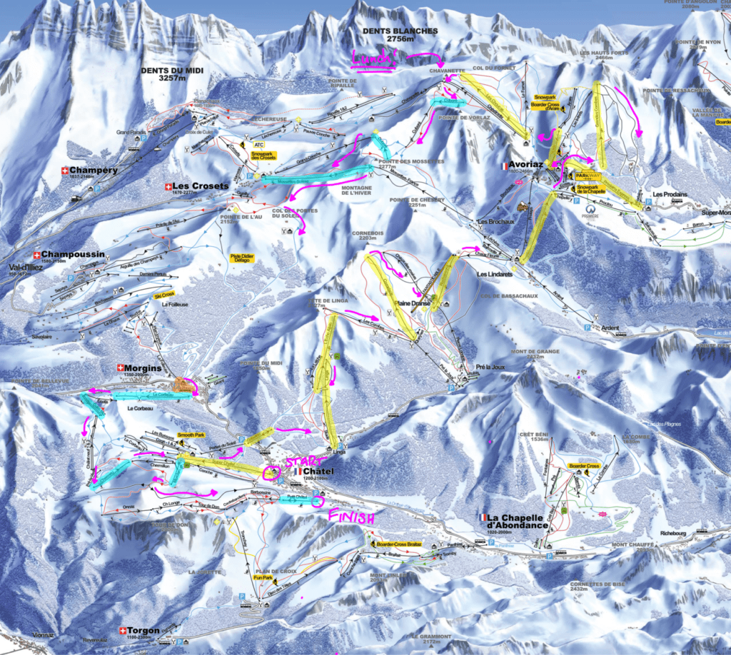 ski tour of the Portes du Soleil from Chatel