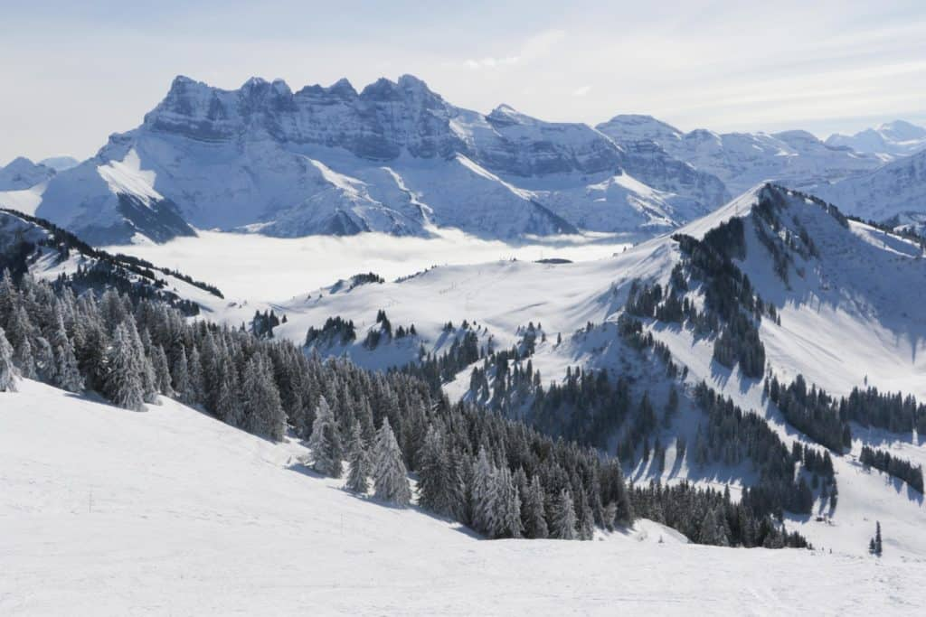 A view from Super-Chatel over the ski resort to the Dents du Midi
