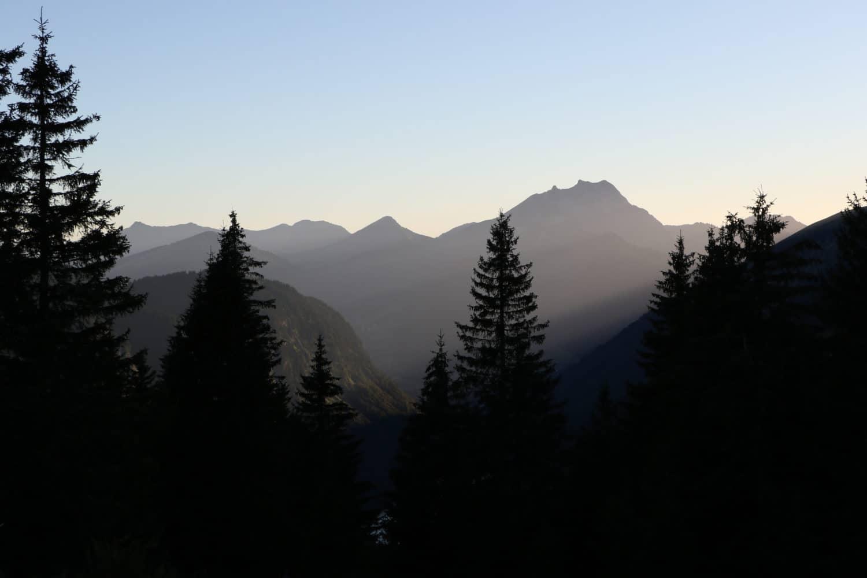 Sunset silhouette at the Col de Bassachaux