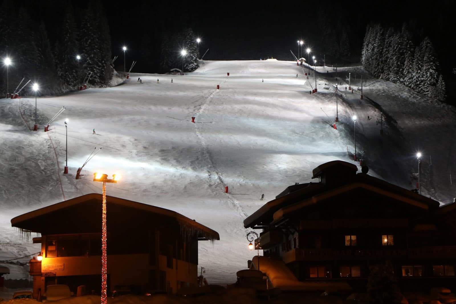 night skiing at Linga, Châtel