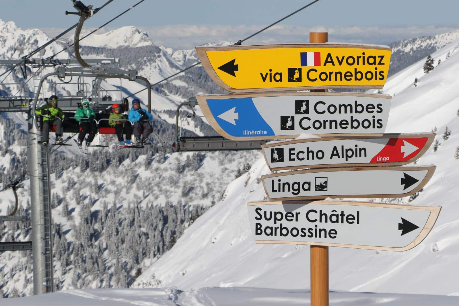 Piste sign post beside a chairlift