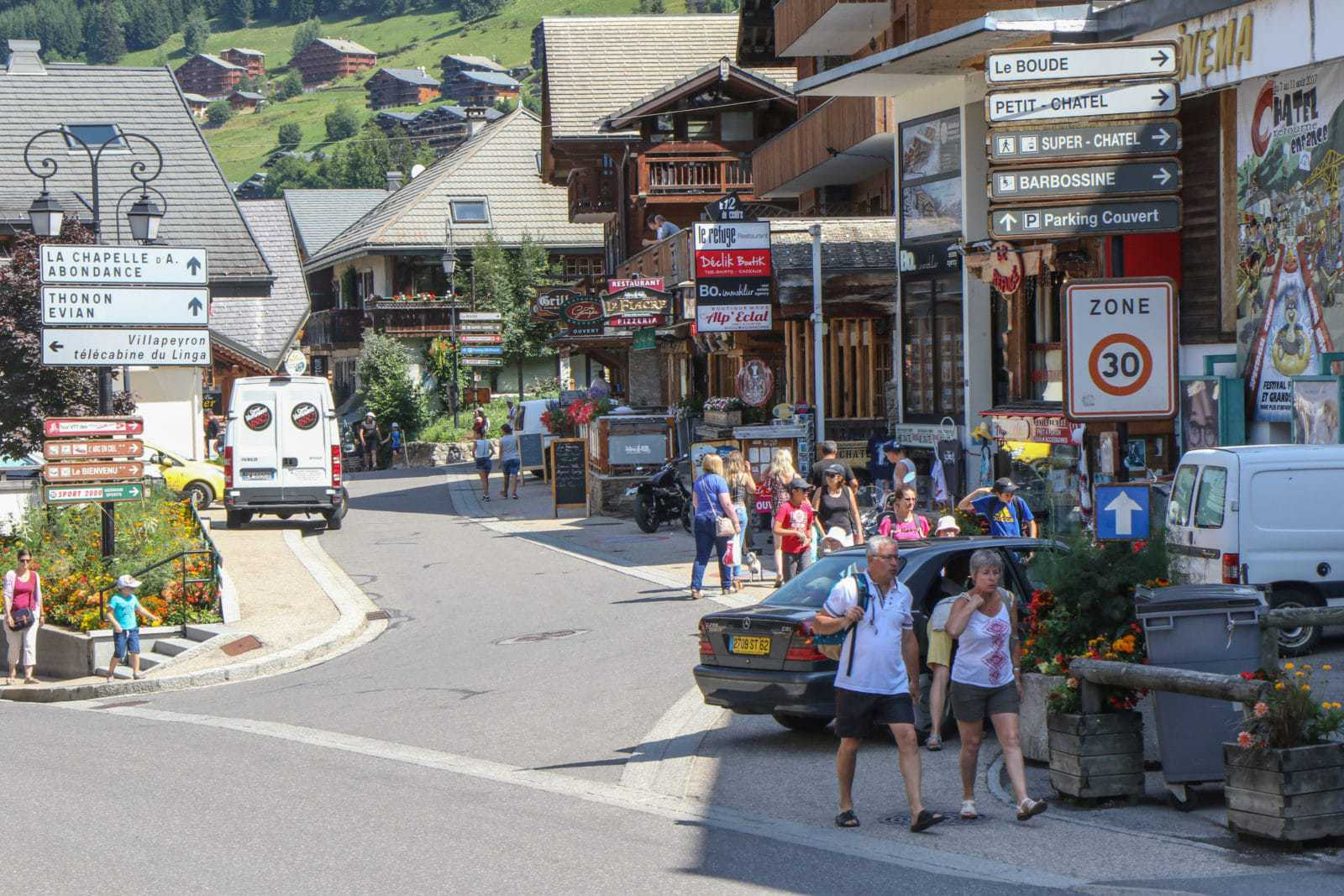 Street view of Chatel in the summer