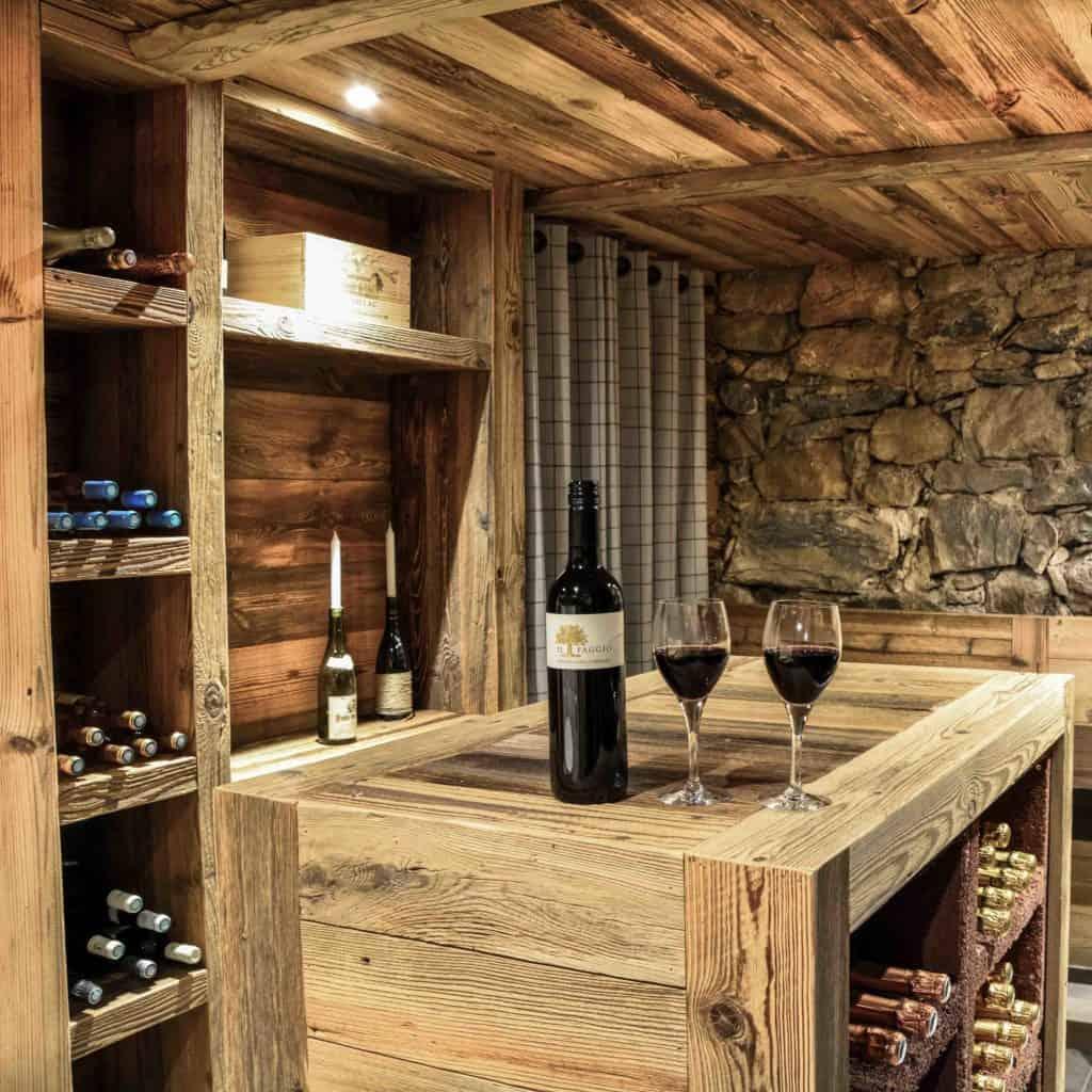 The luxurious carnotzet (wine cellar) at La Grange au Merle