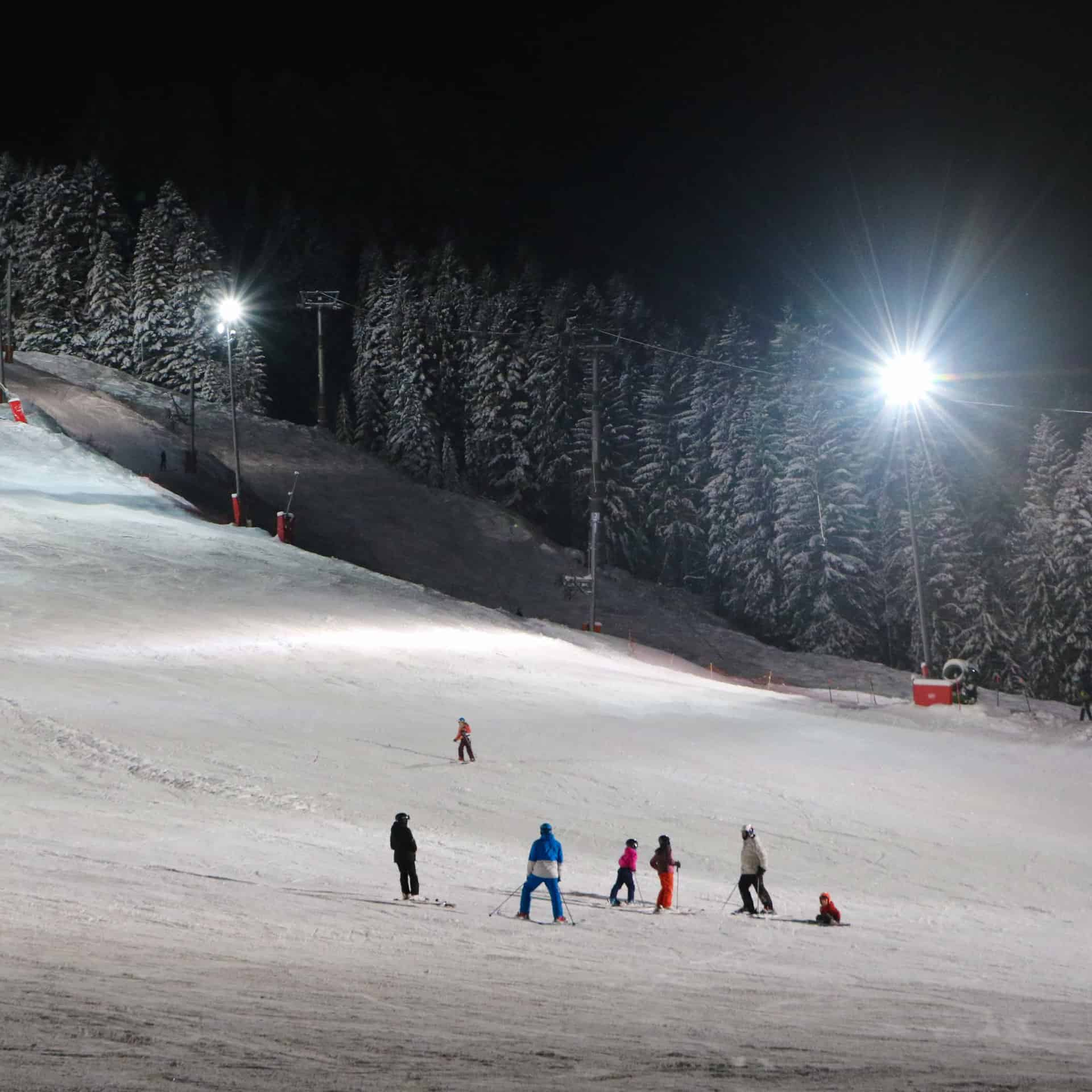 night skiing at Chatel