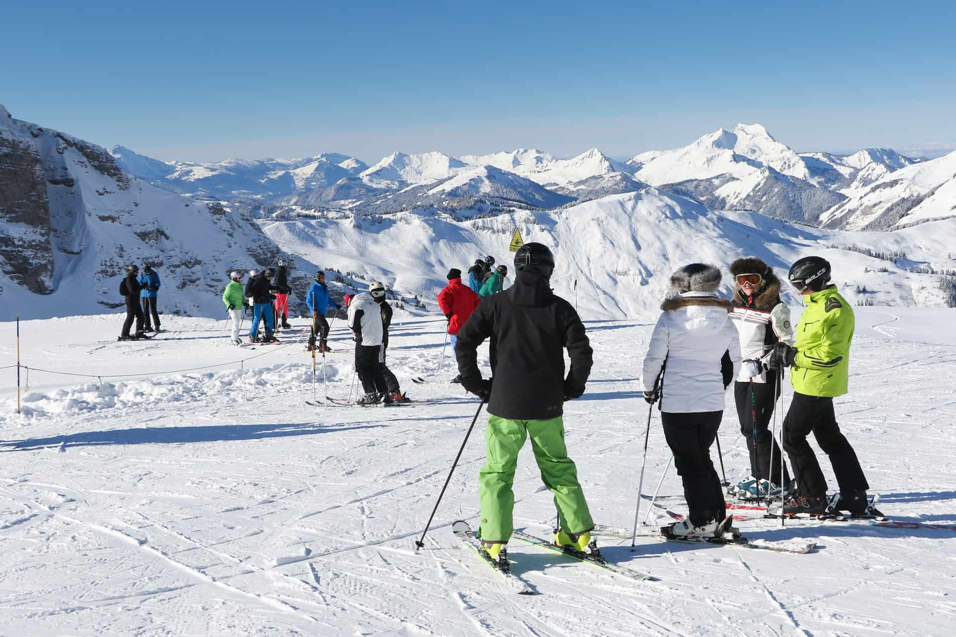 people skiing at pre la joux chatel