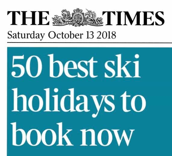 Article in The Times news paper-50 best ski holidays