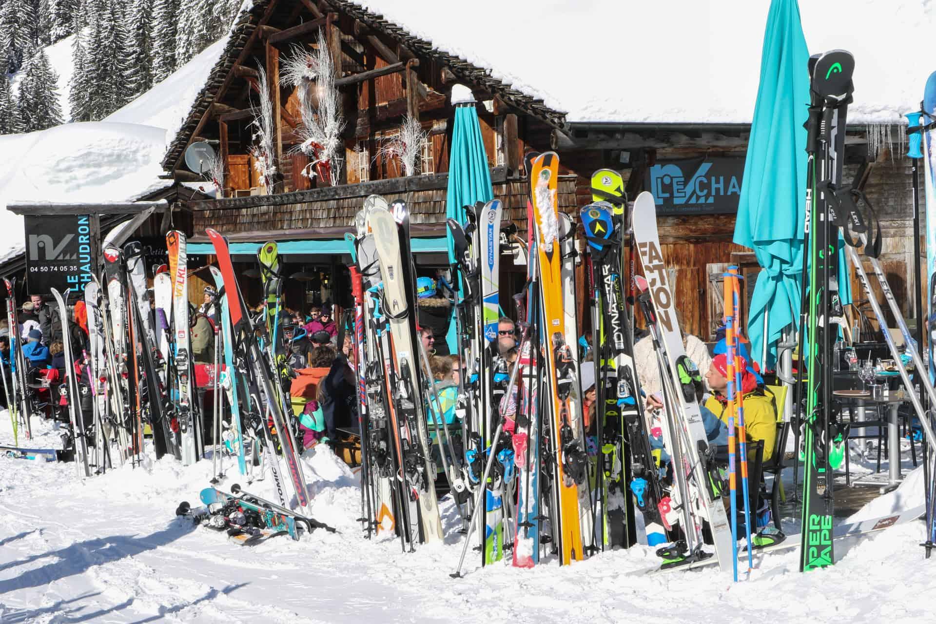 skis outside a mountain restaurant