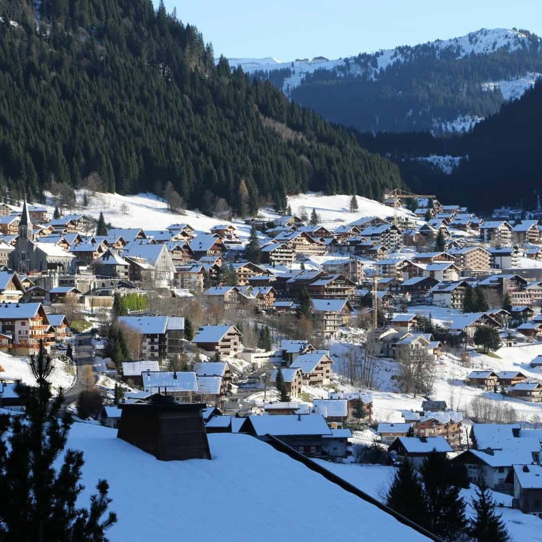 View over chatel village in france, skiing spot, portes du soliel