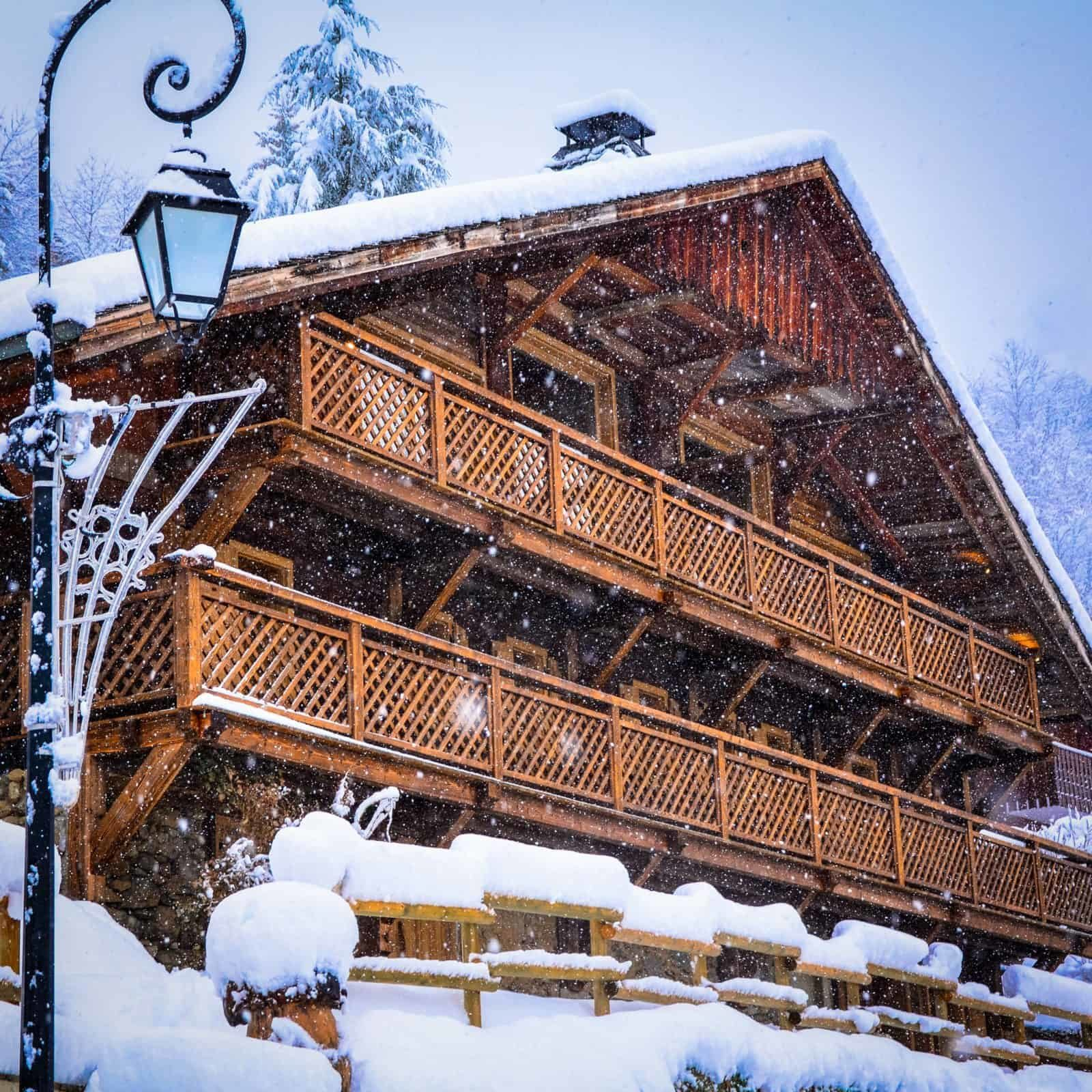 snow covered chalet La Grange au Merle by Clarian Chalets