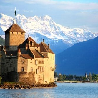 A view of the Chateau de Chilean looking across Lake Geneva
